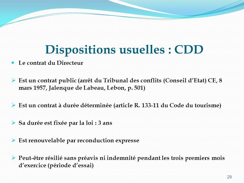 29 Dispositions usuelles : CDD Le contrat du Directeur Est un contrat public (arrêt du Tribunal des conflits (Conseil dEtat) CE, 8 mars 1957, Jalenque