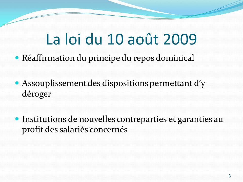 La loi du 10 août 2009 Réaffirmation du principe du repos dominical Assouplissement des dispositions permettant dy déroger Institutions de nouvelles c