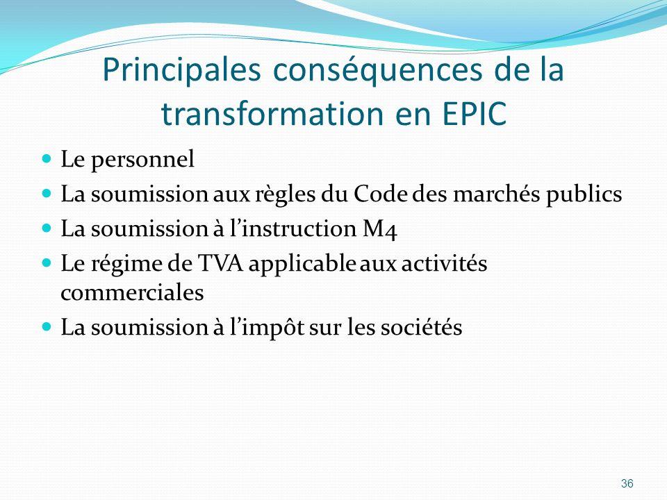 Principales conséquences de la transformation en EPIC Le personnel La soumission aux règles du Code des marchés publics La soumission à linstruction M