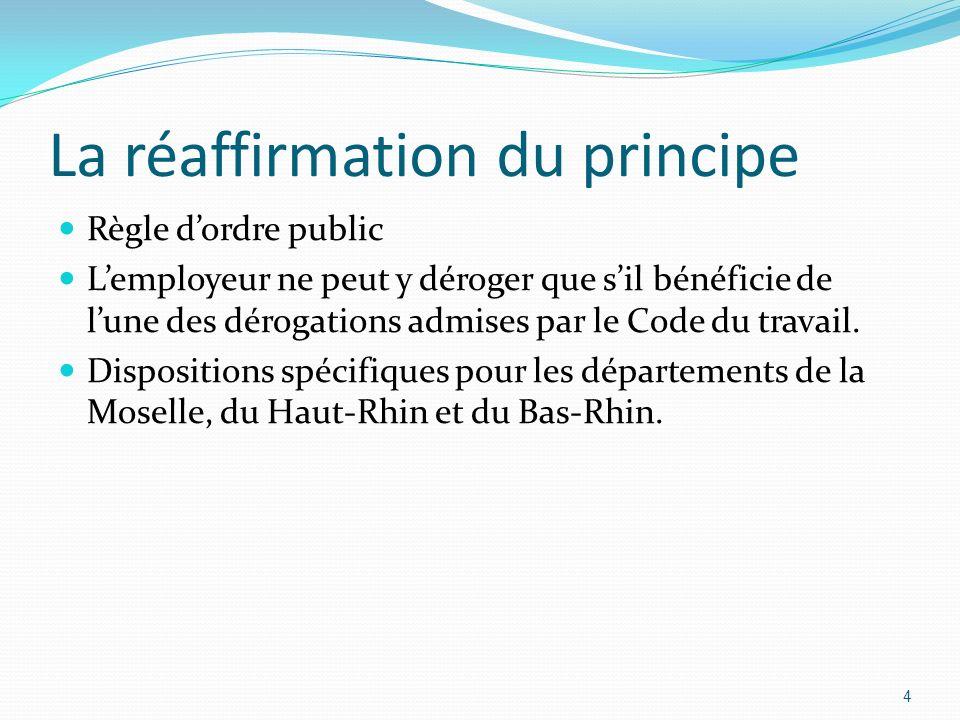 La réaffirmation du principe Règle dordre public Lemployeur ne peut y déroger que sil bénéficie de lune des dérogations admises par le Code du travail