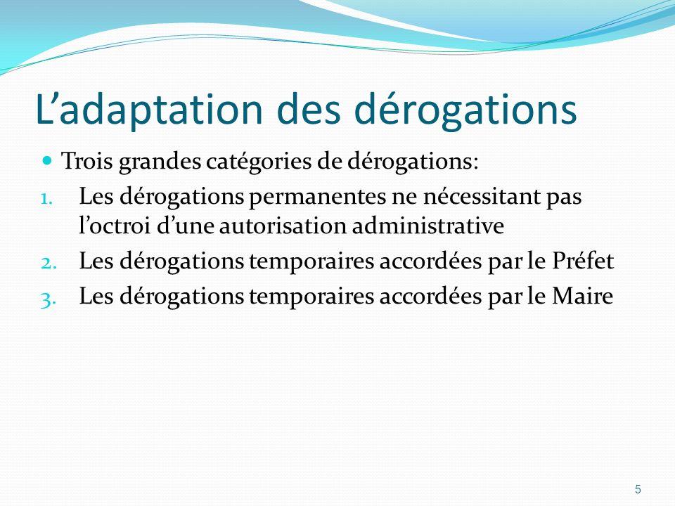 Ladaptation des dérogations Trois grandes catégories de dérogations: 1. Les dérogations permanentes ne nécessitant pas loctroi dune autorisation admin