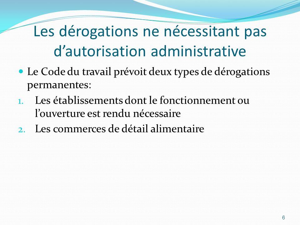 Les dérogations ne nécessitant pas dautorisation administrative Le Code du travail prévoit deux types de dérogations permanentes: 1. Les établissement