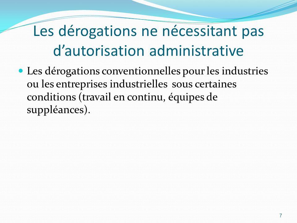 Les dérogations ne nécessitant pas dautorisation administrative Les dérogations conventionnelles pour les industries ou les entreprises industrielles