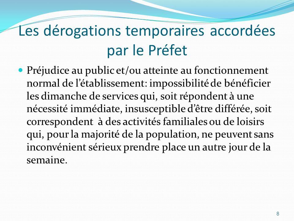 Les dérogations temporaires accordées par le Préfet Dans les communes et zones touristiques, assouplissement des possibilités de déroger au repos dominical: 1.