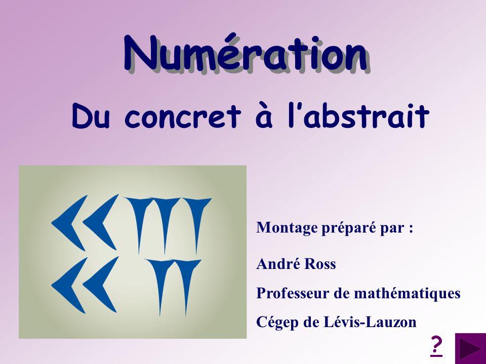 Du concret à labstrait Montage préparé par : André Ross Professeur de mathématiques Cégep de Lévis-Lauzon ? Numération