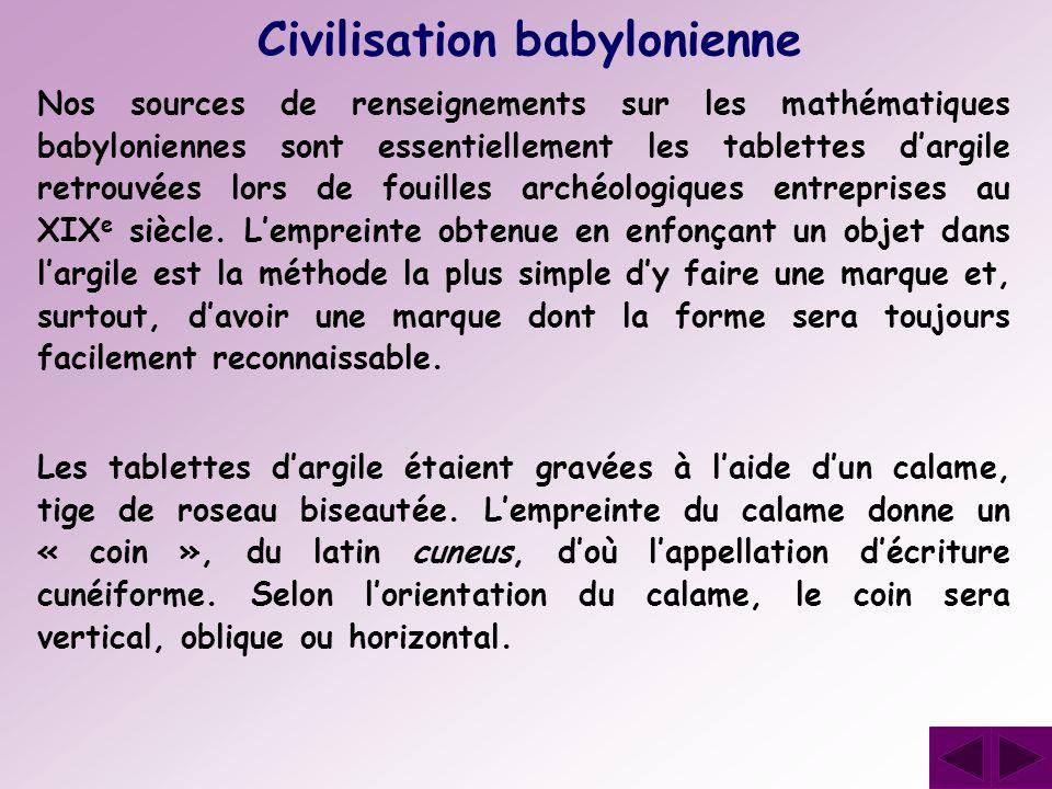 Nos sources de renseignements sur les mathématiques babyloniennes sont essentiellement les tablettes dargile retrouvées lors de fouilles archéologique