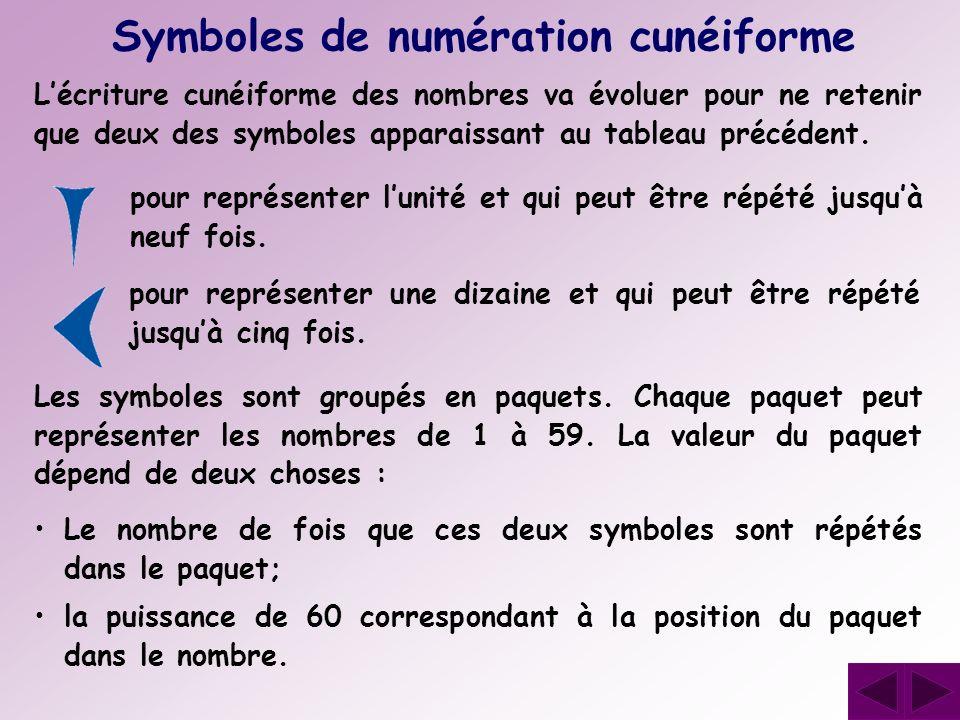 Lécriture cunéiforme des nombres va évoluer pour ne retenir que deux des symboles apparaissant au tableau précédent. Symboles de numération cunéiforme