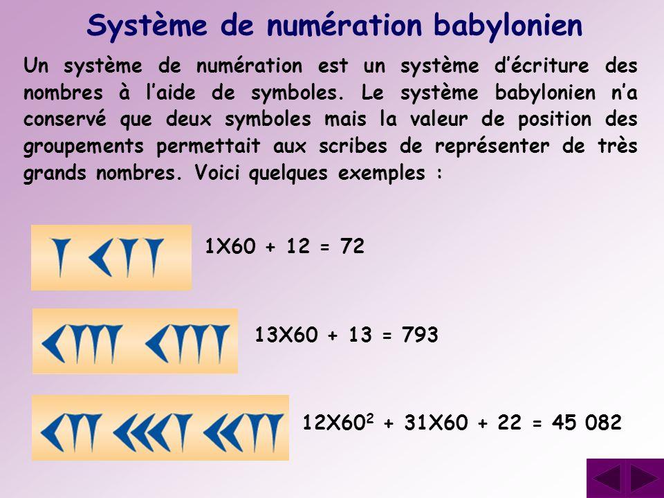 Un système de numération est un système décriture des nombres à laide de symboles. Le système babylonien na conservé que deux symboles mais la valeur