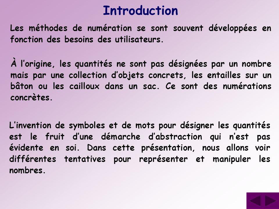 Les méthodes de numération se sont souvent développées en fonction des besoins des utilisateurs. Introduction Linvention de symboles et de mots pour d