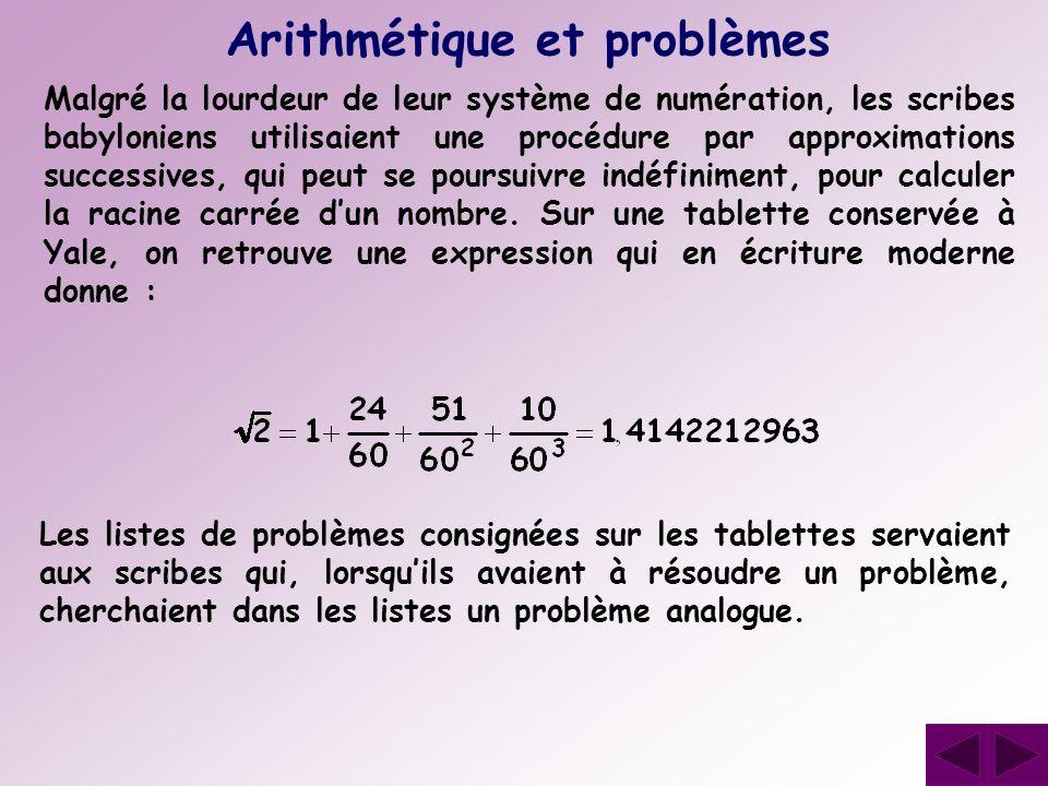 Arithmétique et problèmes Malgré la lourdeur de leur système de numération, les scribes babyloniens utilisaient une procédure par approximations succe