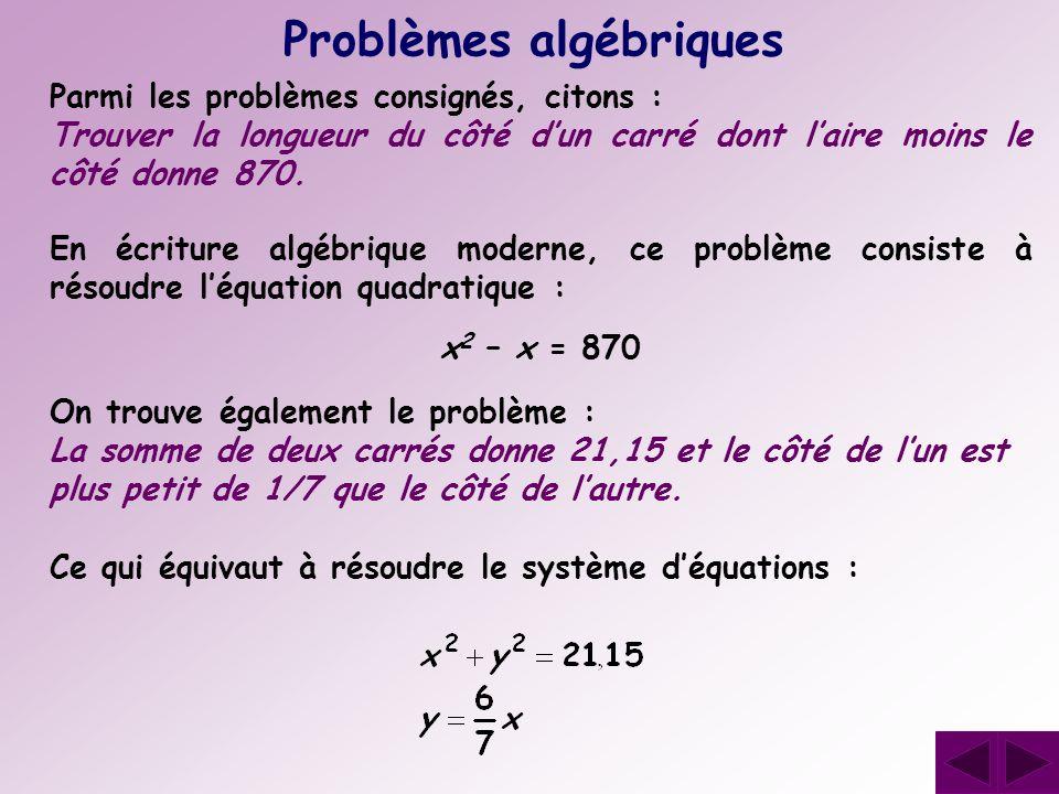 Problèmes algébriques En écriture algébrique moderne, ce problème consiste à résoudre léquation quadratique : x2 x2 – x = 870 On trouve également le p
