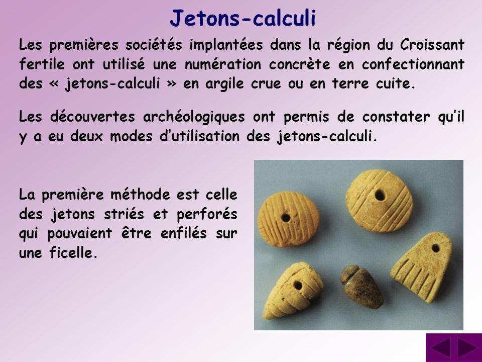 Les premières sociétés implantées dans la région du Croissant fertile ont utilisé une numération concrète en confectionnant des « jetons-calculi » en
