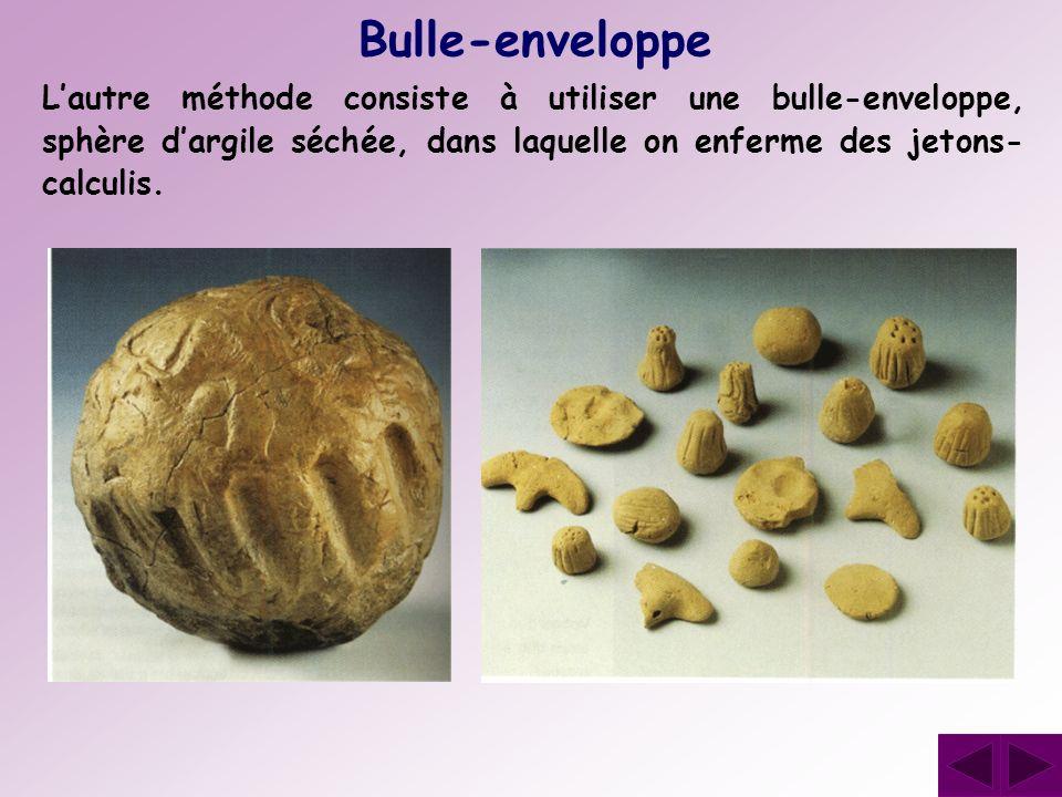 Lautre méthode consiste à utiliser une bulle-enveloppe, sphère dargile séchée, dans laquelle on enferme des jetons- calculis. Bulle-enveloppe