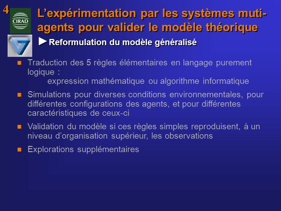 Lexpérimentation par les systèmes muti- agents pour valider le modèle théorique Reformulation du modèle généralisé n Traduction des 5 règles élémentai