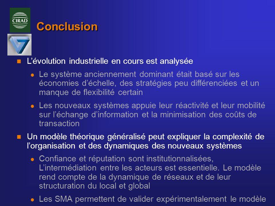 Conclusion n Lévolution industrielle en cours est analysée l Le système anciennement dominant était basé sur les économies déchelle, des stratégies pe