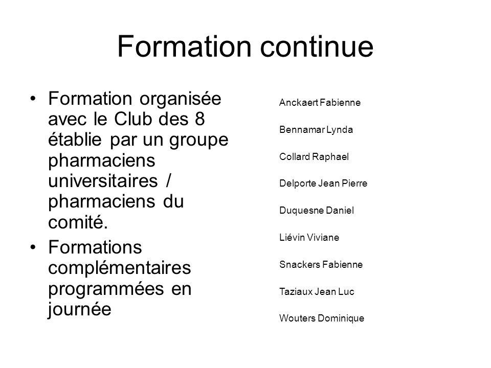 Formation continue Formation organisée avec le Club des 8 établie par un groupe pharmaciens universitaires / pharmaciens du comité.