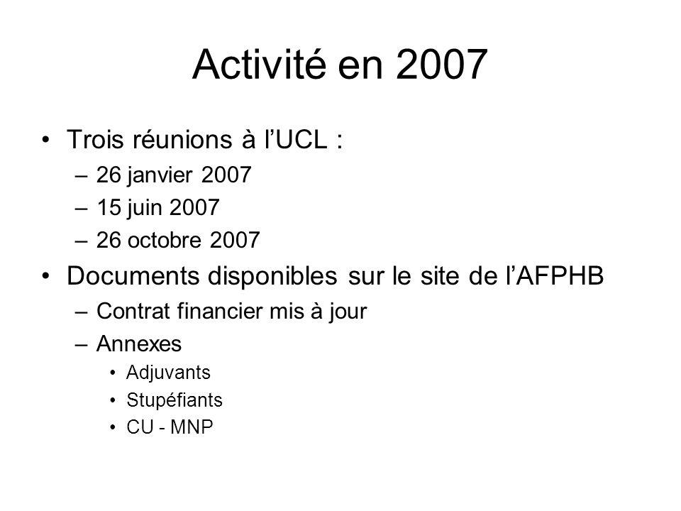 Activité en 2007 Trois réunions à lUCL : –26 janvier 2007 –15 juin 2007 –26 octobre 2007 Documents disponibles sur le site de lAFPHB –Contrat financier mis à jour –Annexes Adjuvants Stupéfiants CU - MNP