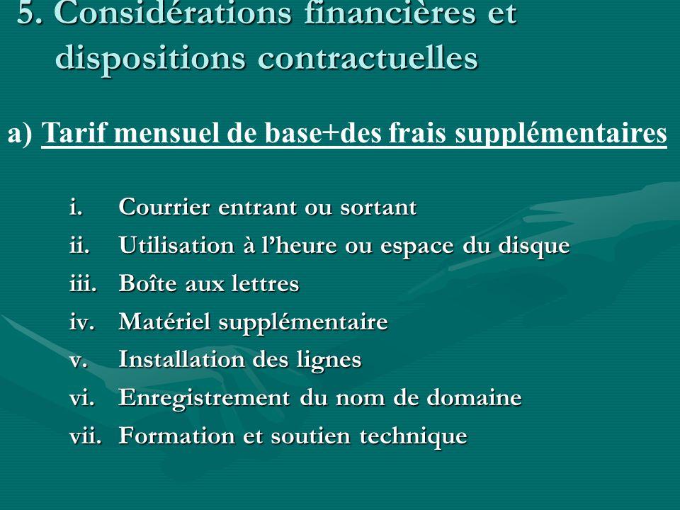 5. Considérations financières et dispositions contractuelles i.Courrier entrant ou sortant ii.Utilisation à lheure ou espace du disque iii.Boîte aux l