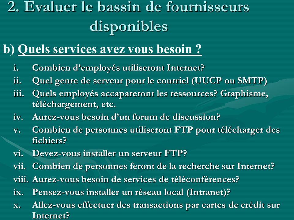 2. Évaluer le bassin de fournisseurs disponibles i.Combien demployés utiliseront Internet? ii.Quel genre de serveur pour le courriel (UUCP ou SMTP) ii