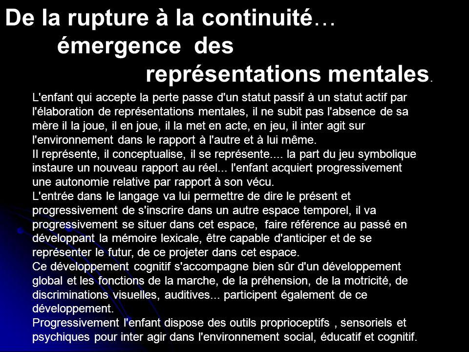 De la rupture à la continuité… émergence des représentations mentales. L'enfant qui accepte la perte passe d'un statut passif à un statut actif par l'