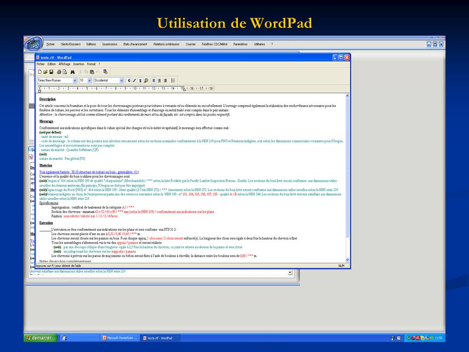 Utilisation de WordPad