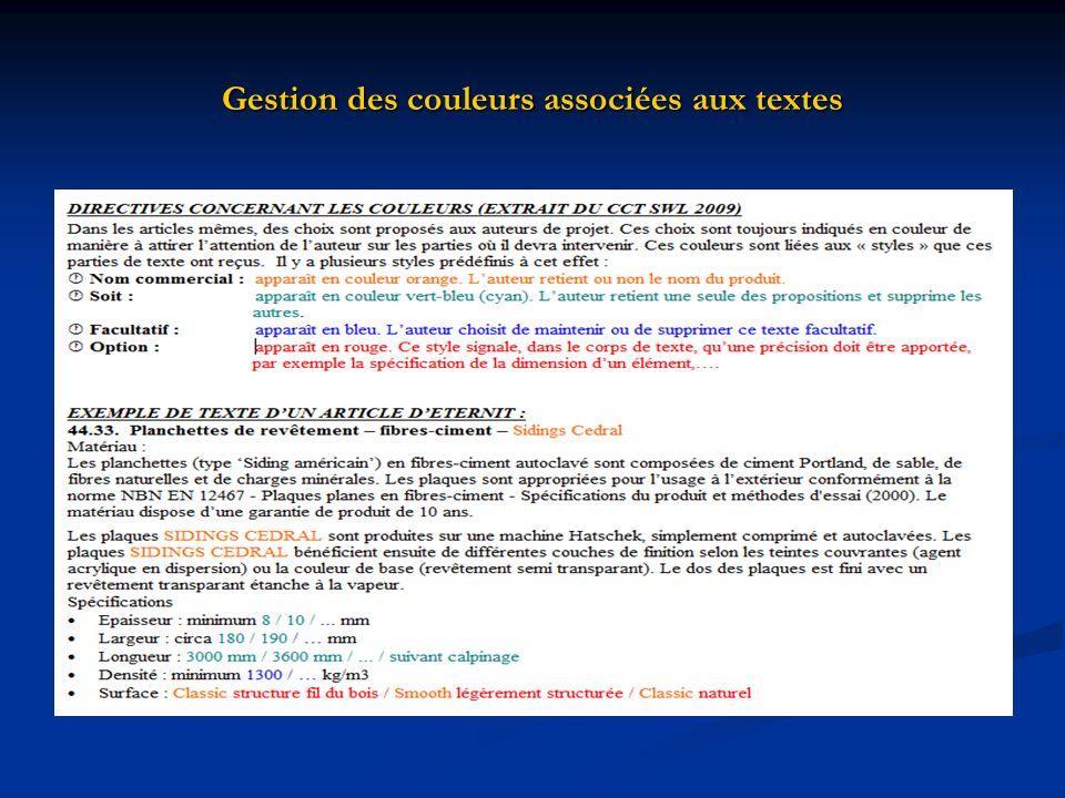 Gestion des couleurs associées aux textes
