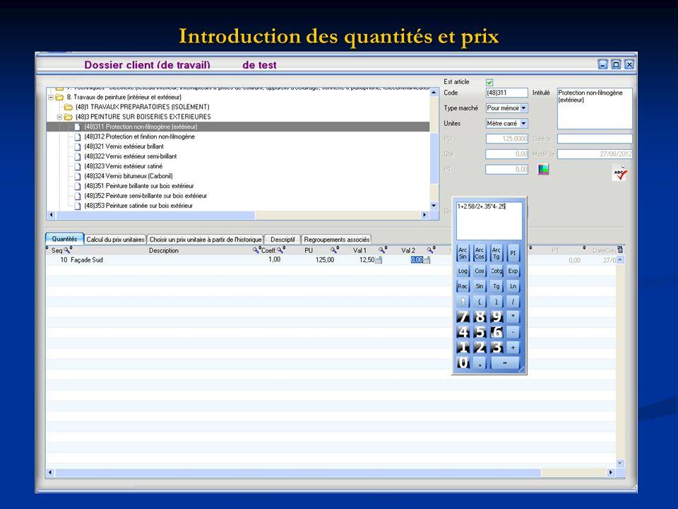Introduction des quantités et prix