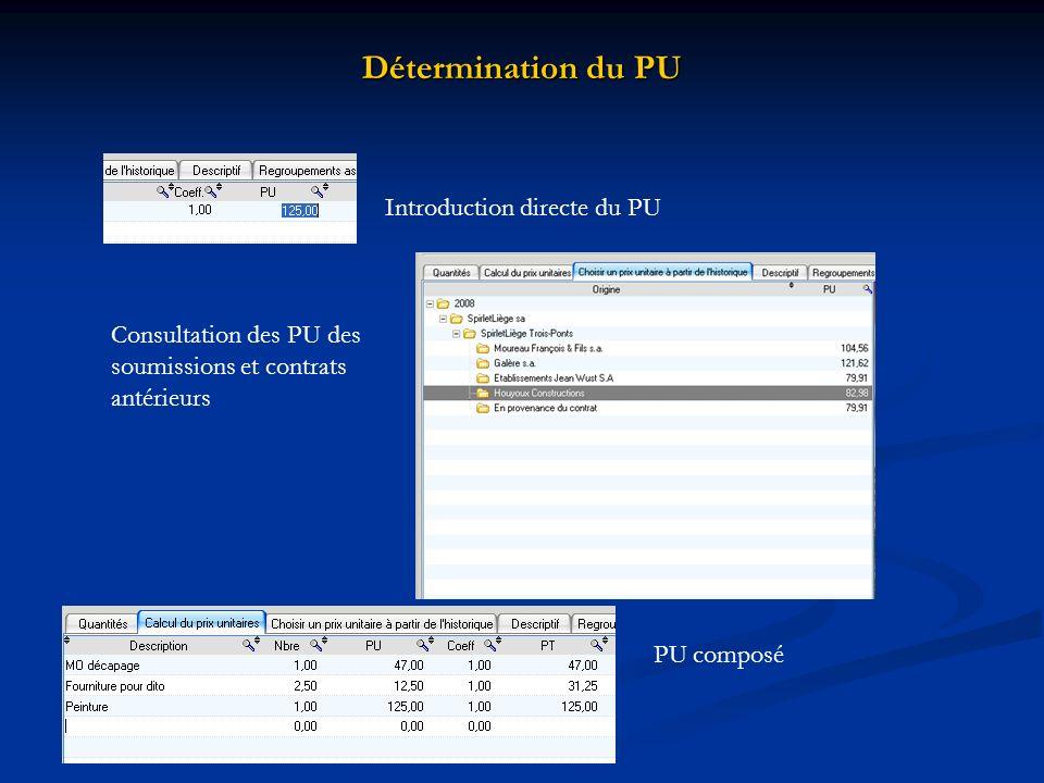 Détermination du PU Introduction directe du PU Consultation des PU des soumissions et contrats antérieurs PU composé