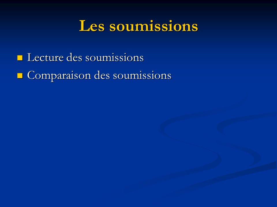 Les soumissions Lecture des soumissions Lecture des soumissions Comparaison des soumissions Comparaison des soumissions