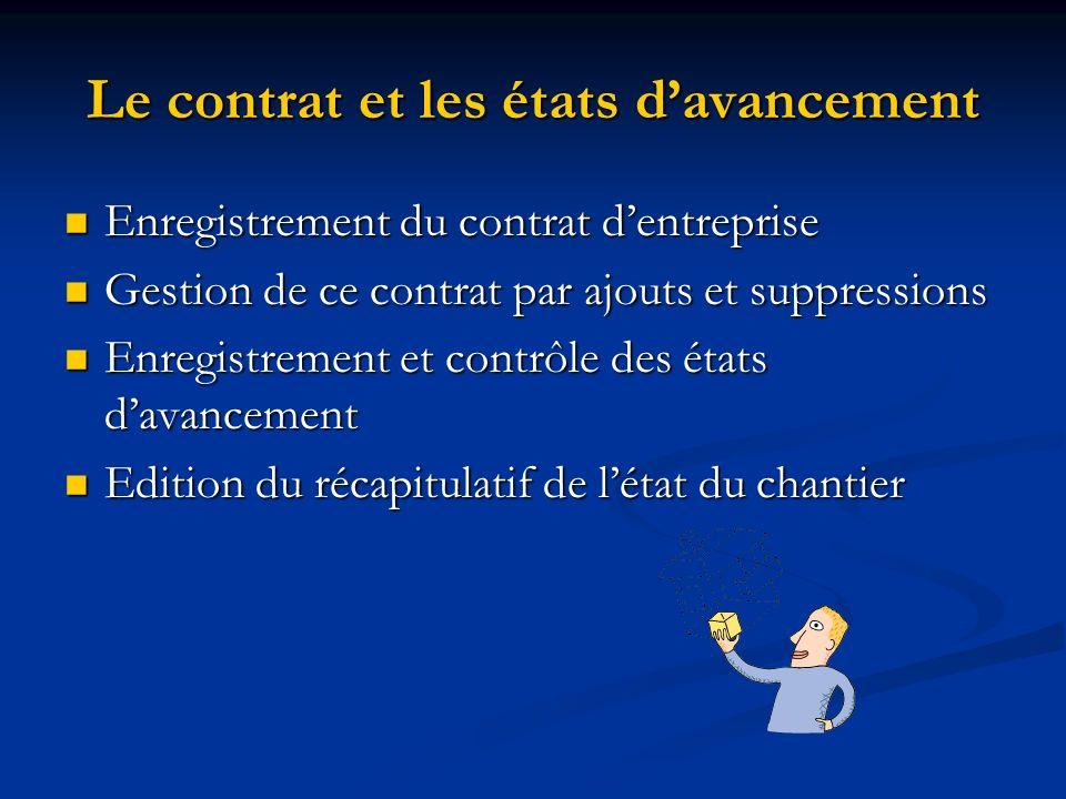 Le contrat et les états davancement Enregistrement du contrat dentreprise Enregistrement du contrat dentreprise Gestion de ce contrat par ajouts et su