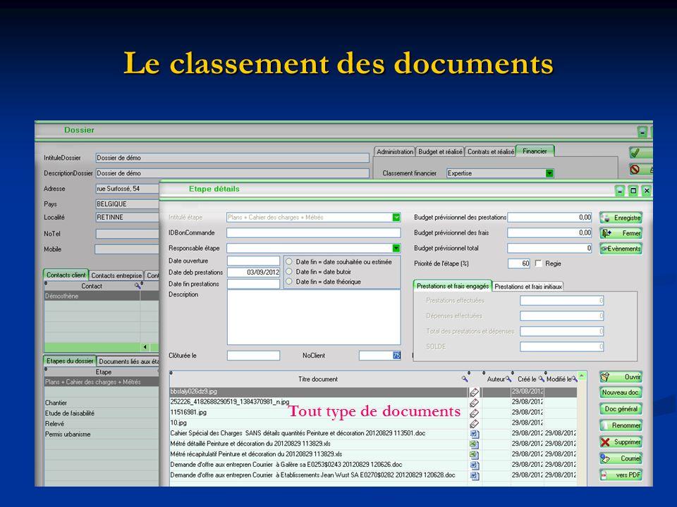 Le classement des documents Tout type de documents
