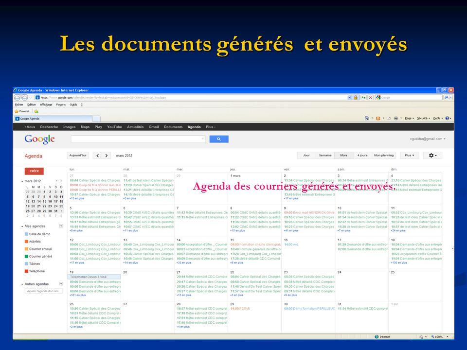 Les documents générés et envoyés Agenda des courriers générés et envoyés.