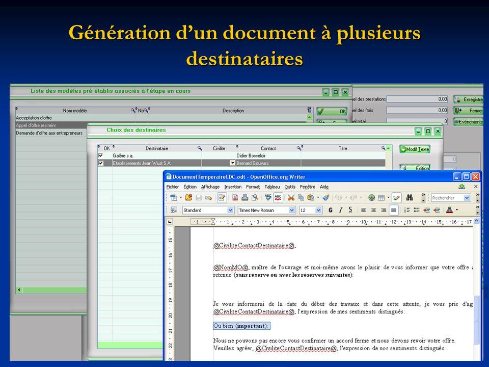 Génération dun document à plusieurs destinataires