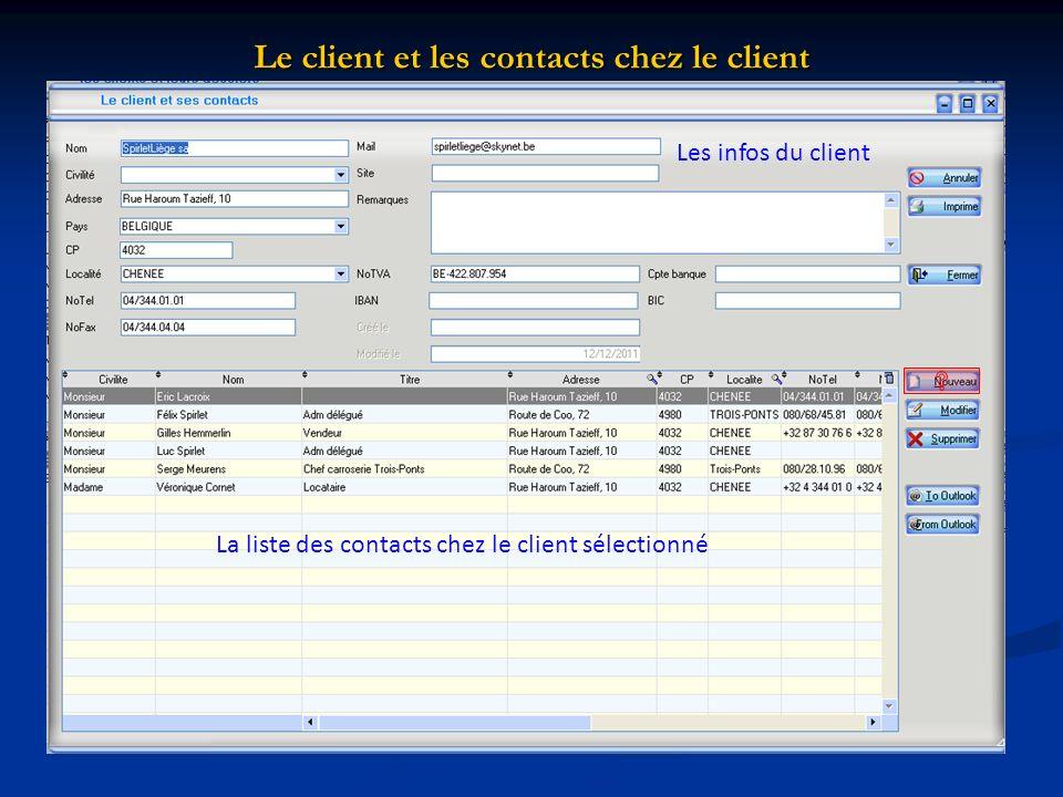 Le client et les contacts chez le client La liste des contacts chez le client sélectionné Les infos du client