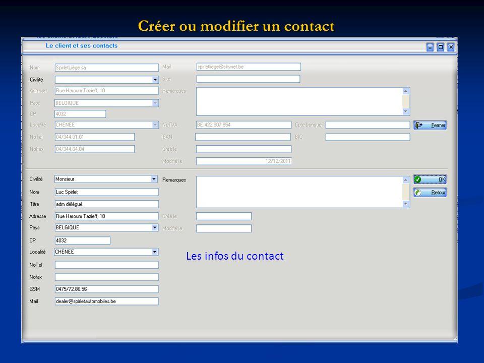 Créer ou modifier un contact Les infos du contact