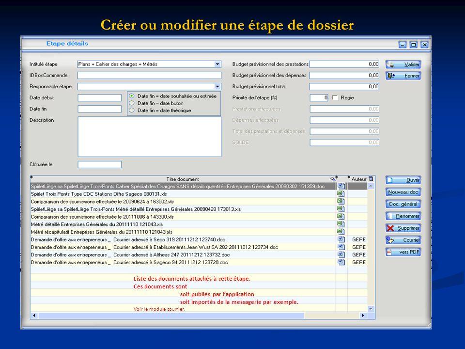 Créer ou modifier une étape de dossier Liste des documents attachés à cette étape. Ces documents sont soit publiés par lapplication soit importés de l