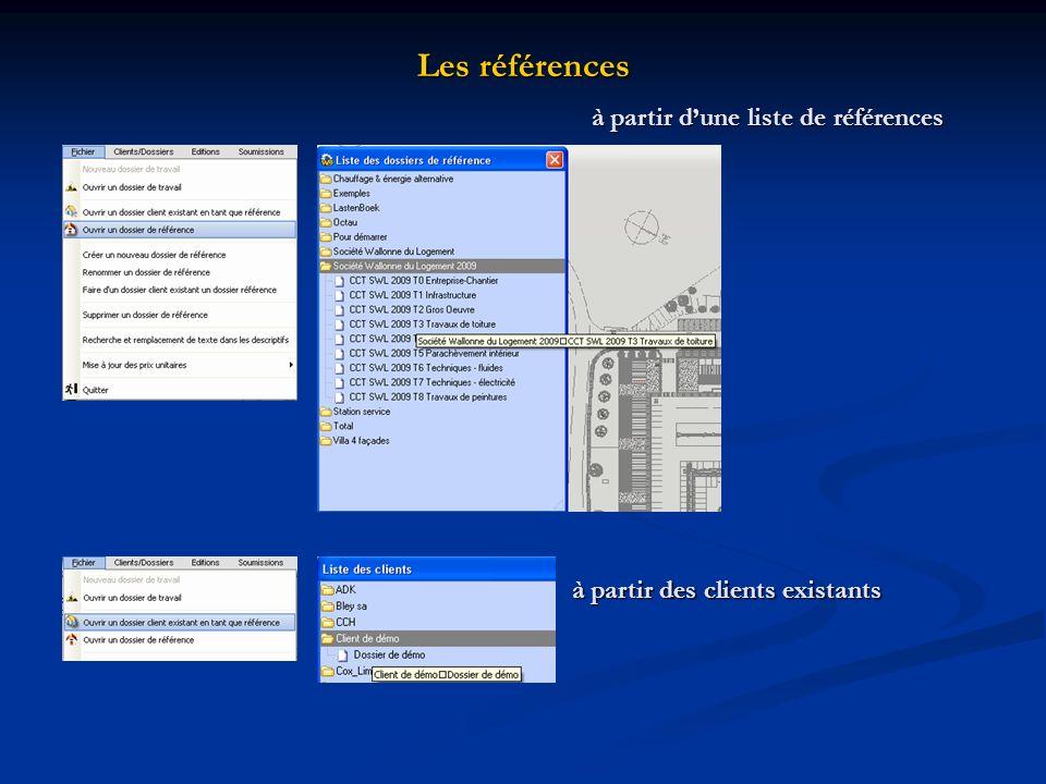 Les références à partir dune liste de références à partir des clients existants