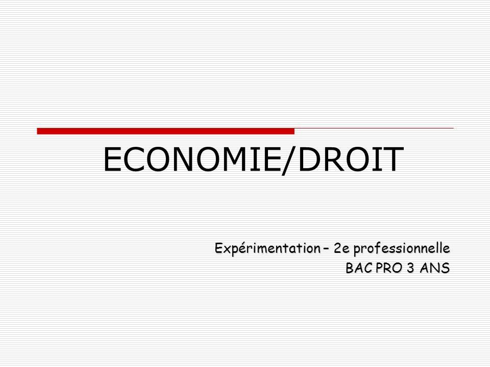 ECONOMIE/DROIT Expérimentation – 2e professionnelle BAC PRO 3 ANS