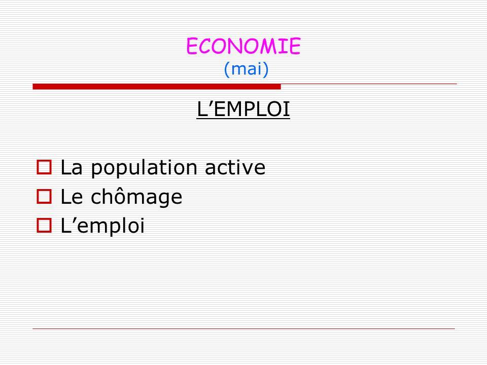 ECONOMIE (mai) LEMPLOI La population active Le chômage Lemploi