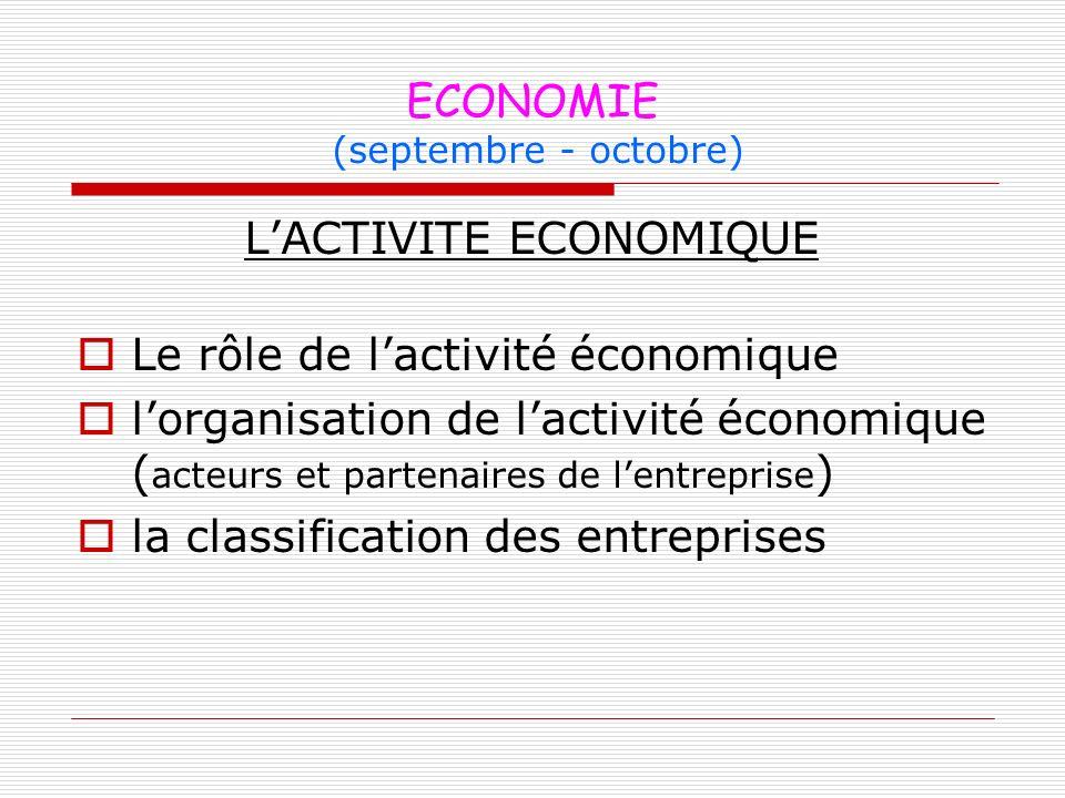 ECONOMIE (septembre - octobre) LACTIVITE ECONOMIQUE Le rôle de lactivité économique lorganisation de lactivité économique ( acteurs et partenaires de