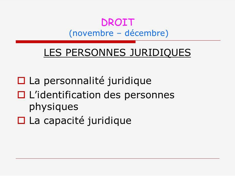 DROIT (novembre – décembre) LES PERSONNES JURIDIQUES La personnalité juridique Lidentification des personnes physiques La capacité juridique