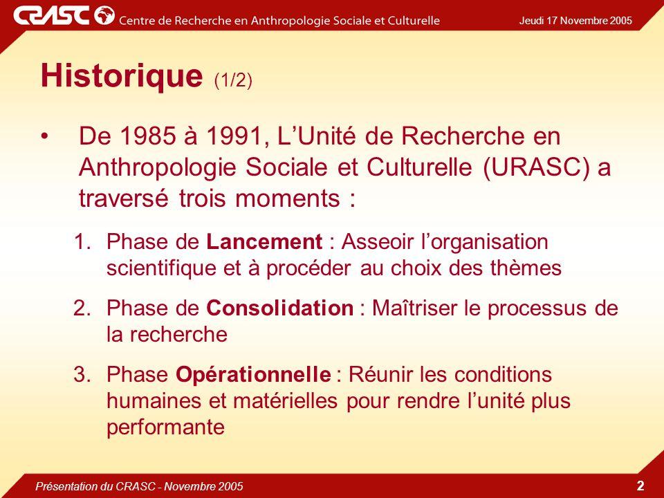 Jeudi 17 Novembre 2005 Présentation du CRASC - Novembre 2005 2 Historique (1/2) De 1985 à 1991, LUnité de Recherche en Anthropologie Sociale et Culturelle (URASC) a traversé trois moments : 1.Phase de Lancement : Asseoir lorganisation scientifique et à procéder au choix des thèmes 2.Phase de Consolidation : Maîtriser le processus de la recherche 3.Phase Opérationnelle : Réunir les conditions humaines et matérielles pour rendre lunité plus performante
