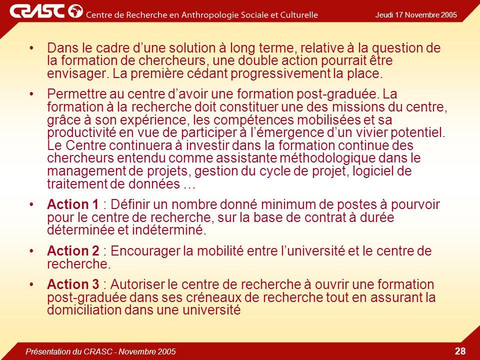 Jeudi 17 Novembre 2005 Présentation du CRASC - Novembre 2005 28 Dans le cadre dune solution à long terme, relative à la question de la formation de chercheurs, une double action pourrait être envisager.