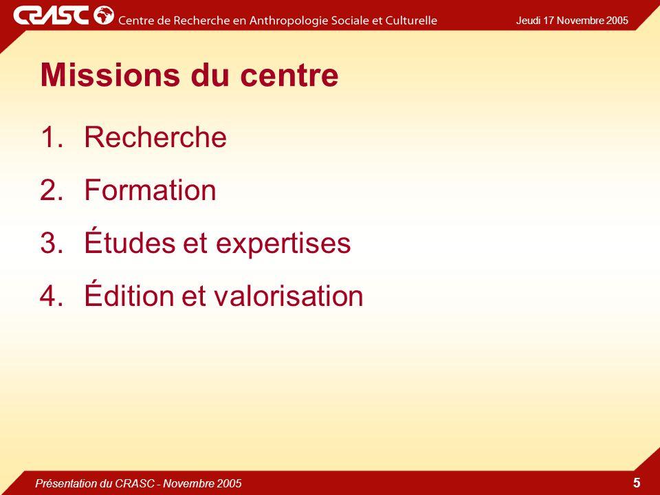 Jeudi 17 Novembre 2005 Présentation du CRASC - Novembre 2005 5 Missions du centre 1.Recherche 2.Formation 3.Études et expertises 4.Édition et valorisation