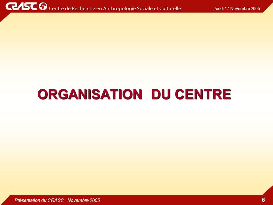 Jeudi 17 Novembre 2005 Présentation du CRASC - Novembre 2005 6 ORGANISATION DU CENTRE