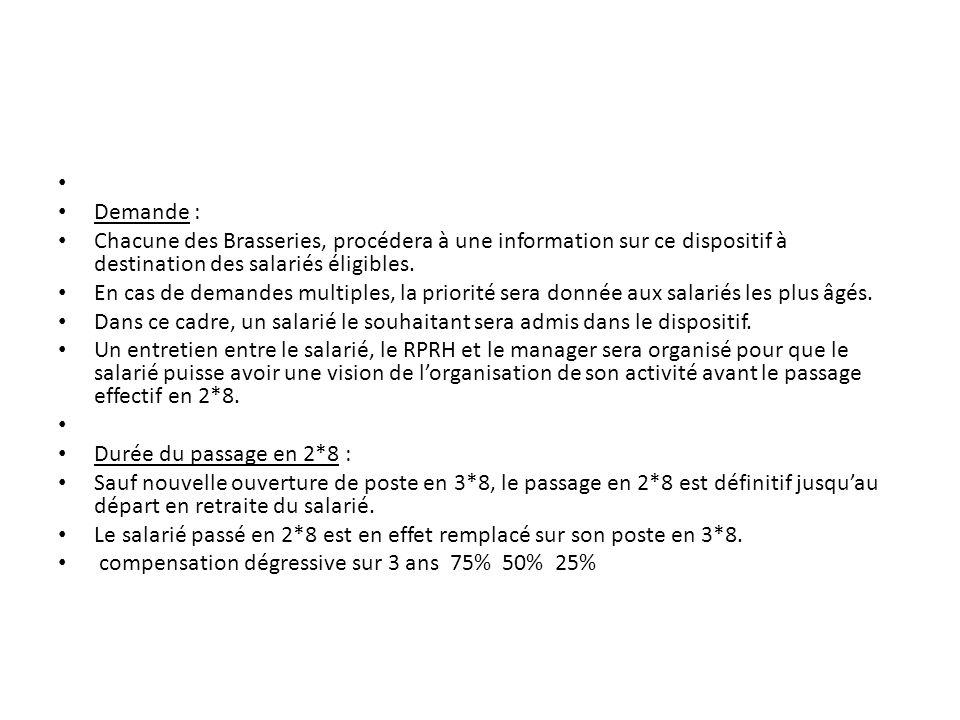 Demande : Chacune des Brasseries, procédera à une information sur ce dispositif à destination des salariés éligibles. En cas de demandes multiples, la