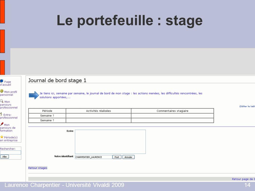 Laurence Charpentier - Université Vivaldi 200914 Le portefeuille : stage