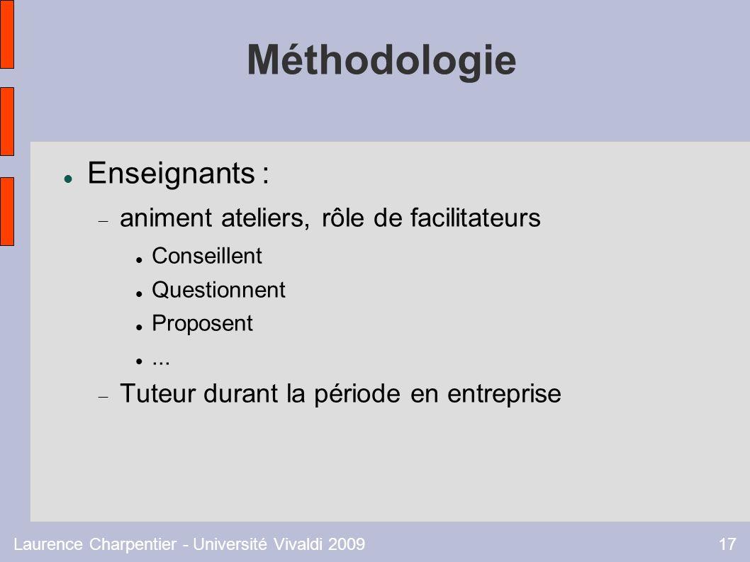 Laurence Charpentier - Université Vivaldi 200917 Méthodologie Enseignants : animent ateliers, rôle de facilitateurs Conseillent Questionnent Proposent...