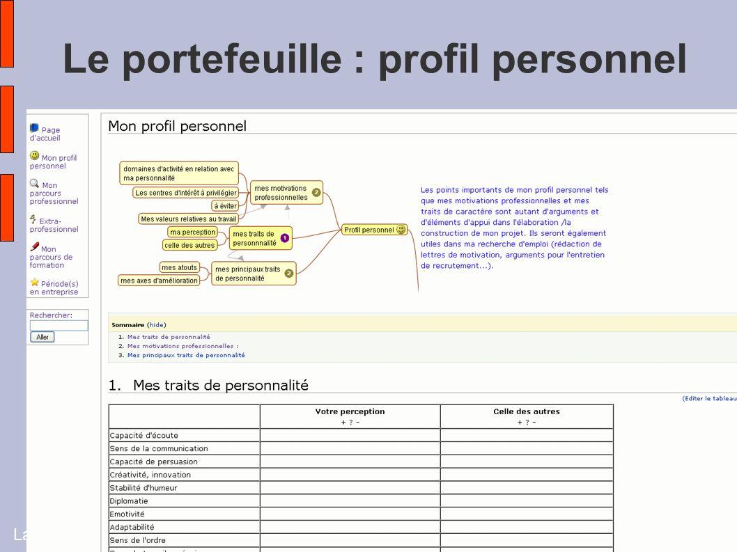 Laurence Charpentier - Université Vivaldi 20097 Le portefeuille : profil personnel
