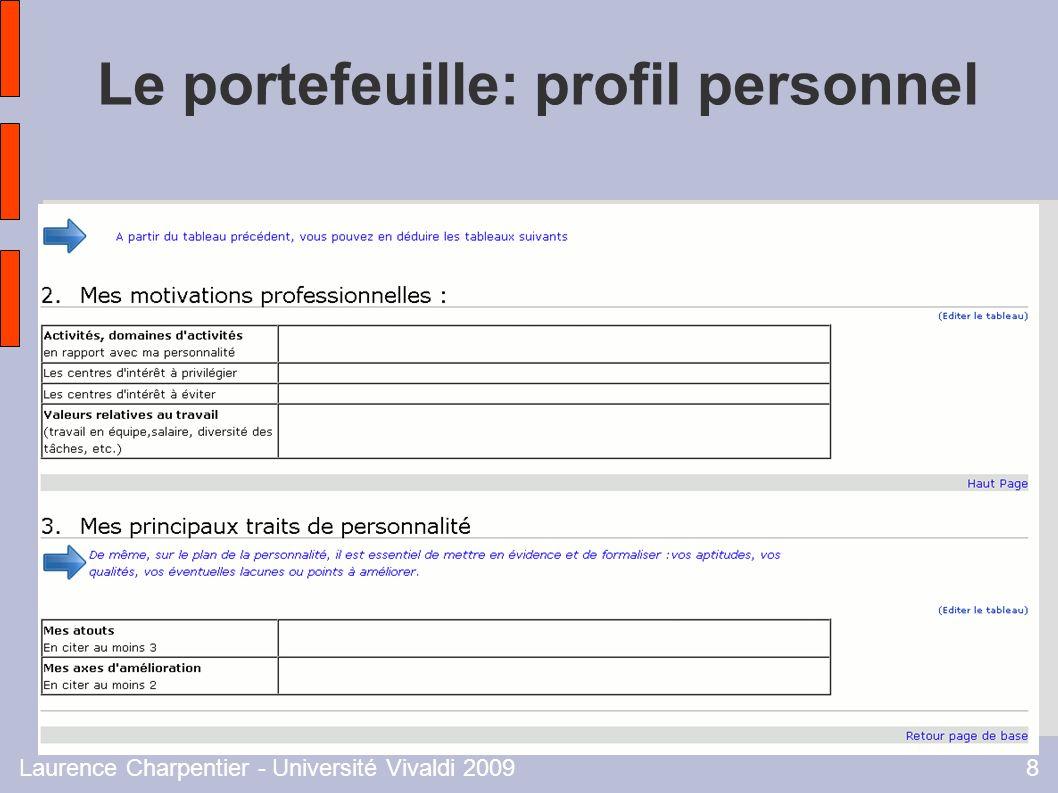 Laurence Charpentier - Université Vivaldi 20098 Le portefeuille: profil personnel
